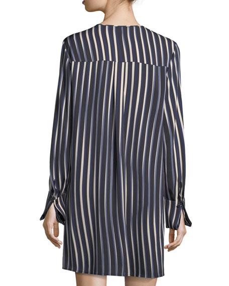 Striped Long-Sleeve Keyhole Dress