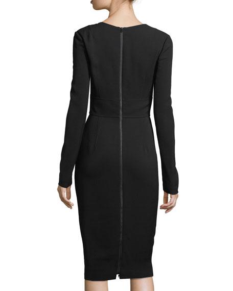 Long-Sleeve V-Neck Tailored Dress