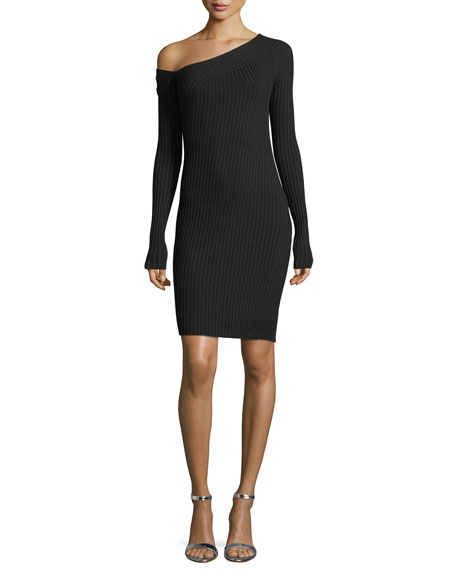 One-Shoulder Long-Sleeve Ribbed Dress