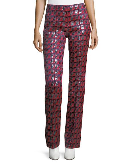 Woven Metallic Pleat-Front Pants