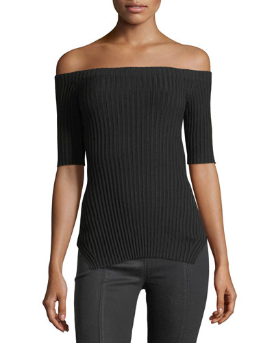 Off-the-Shoulder Short-Sleeve Ribbed Silk Top