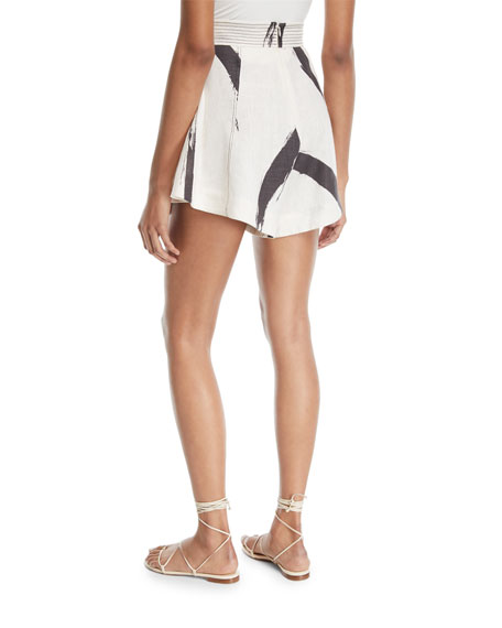 Painted Heart Pleated Wide-Leg Silk Shorts