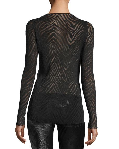 Zebra-Mesh Pullover Top