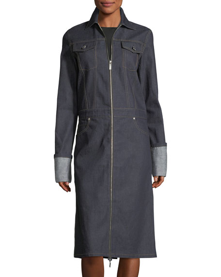 Zip-Front Denim Trench Coat