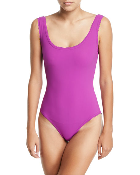 Savile Scoop-Neck One-Piece Swimsuit with Underwire