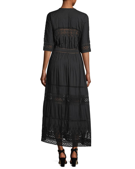 Beth Button-Front Cotton Coverup Dress with Crochet Lace