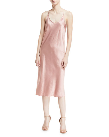 09e9e2f0a3a2 T by Alexander Wang Scoop-Neck Racerback Woven Satin Slip Dress