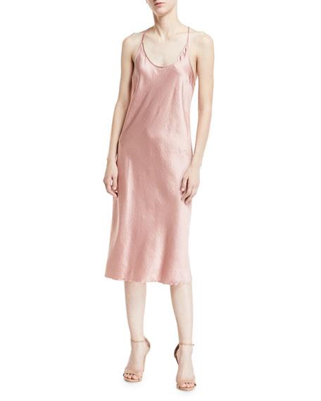 Scoop-Neck Racerback Woven Satin Slip Dress