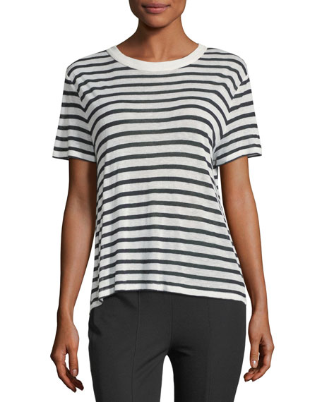 Short-Sleeve Striped Slub Jersey Tee with Back Detail