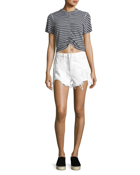 Short-Sleeve Striped Gathered-Front Tee