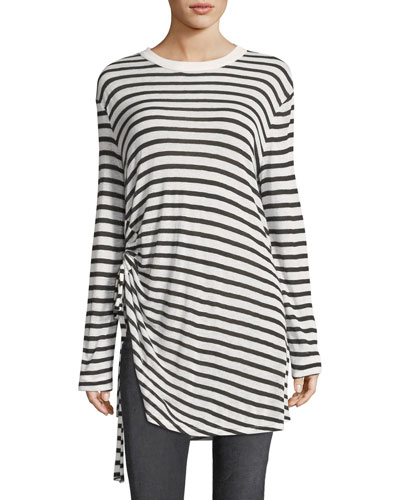 Crewneck Striped Slub Jersey Tee with Ruched Detail