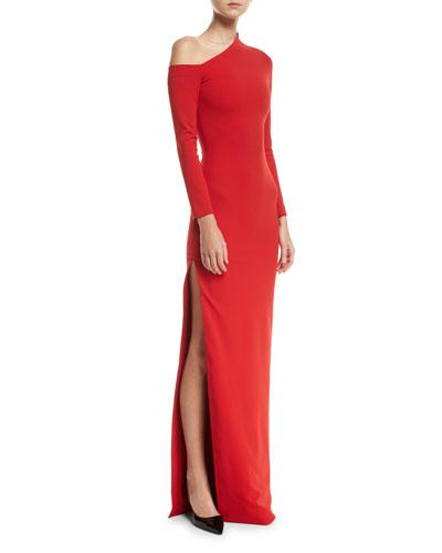 One-Shoulder High-Slit Crepe-Knit Gown
