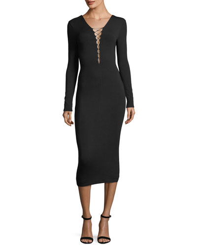 Stretch-Jersey Long-Sleeve Fitted Cocktail Dress with Lacing
