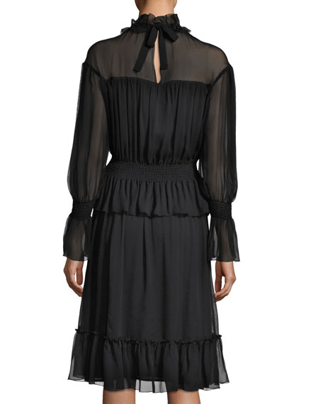Long-Sleeve Smocked Silk Dress