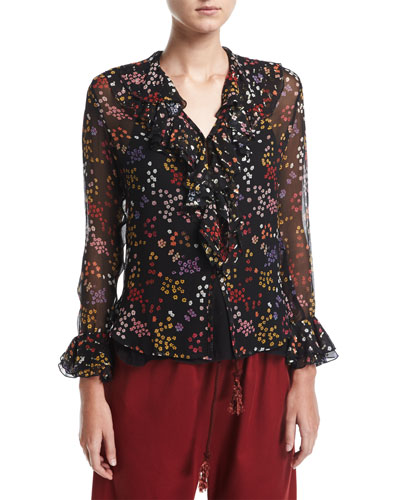 Ruffled Floral-Print Silk Top