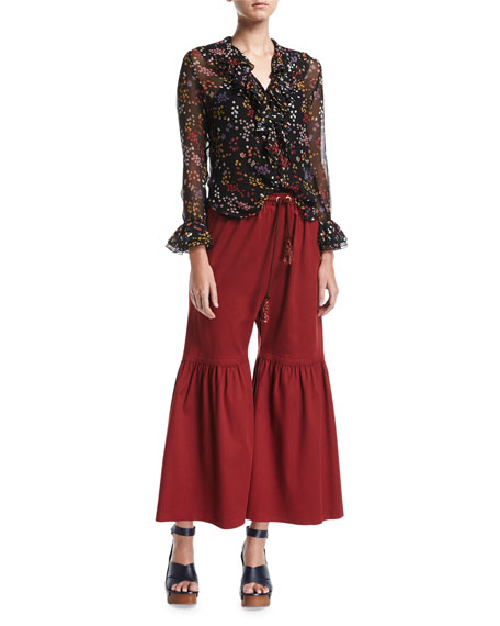 Flared Jersey Trousers