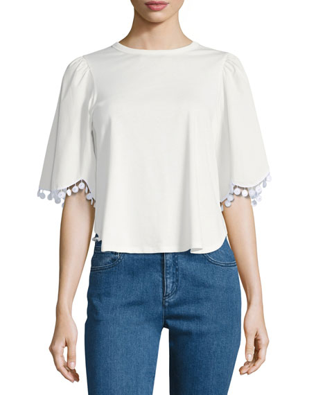 Scallop-Trim Cotton Top