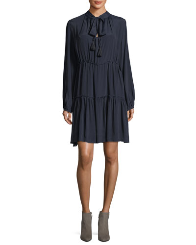 Long-Sleeve Tie-Neck Dress