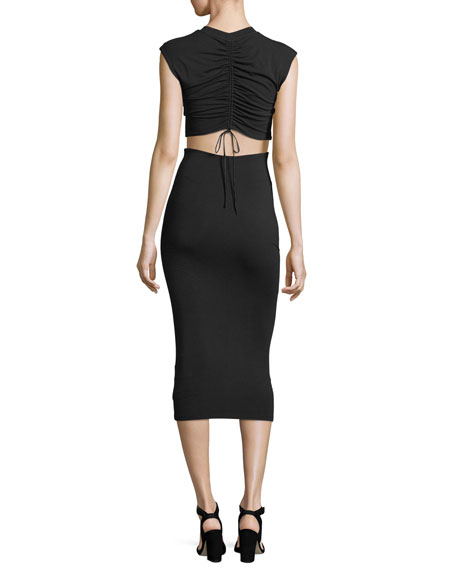 Stretch-Jersey Fitted Cocktail Dress with Cutout Back