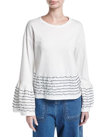 Ruffle-Trim Long-Sleeve Cotton Top