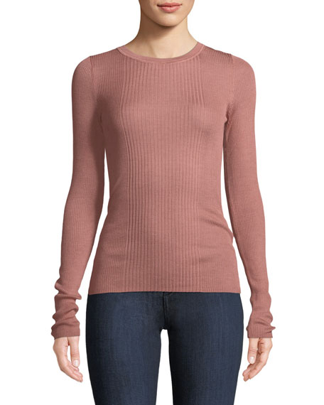 Rib-Knit Long-Sleeve Top