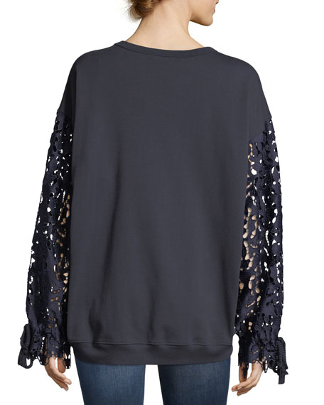 Lace-Sleeve Knit Cotton Top