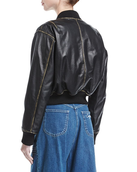 Zip-Front Long-Sleeve Leather Jacket