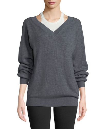 Bi-Layer V-Neck Wool Sweater with Tank