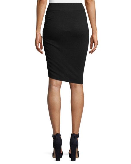 Ruched Merino Wool Pencil Skirt
