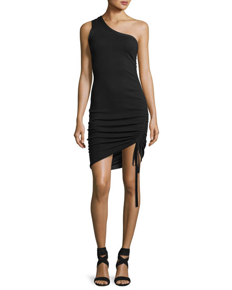 One-Shoulder Ruched Wool Cocktail Mini Dress