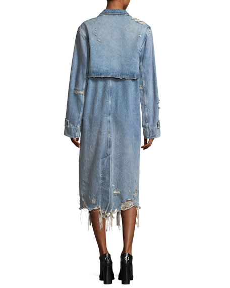 Distressed Double-Breasted Trench Denim Coat