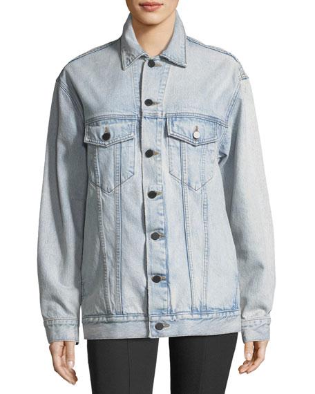 alexanderwang.t Daze Button-Front Bleached Denim Jacket