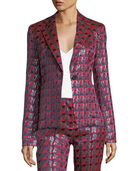 Metallic-Woven Tailored Jacket