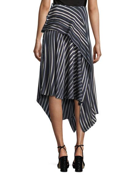 Striped Asymmetric Midi Skirt