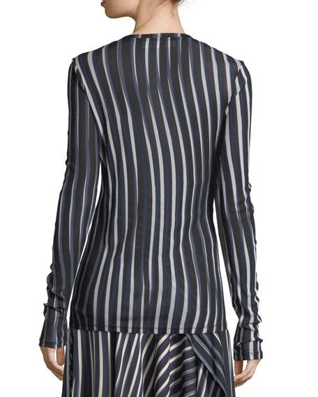 Wavy-Striped Semisheer Top
