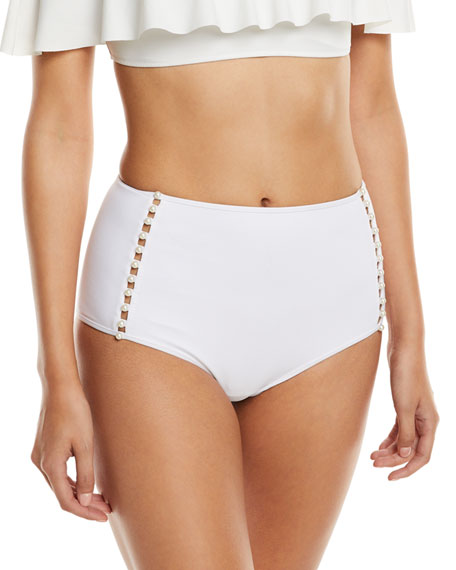 Pearl Studded High-Waist Bikini Swim Bottoms