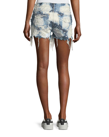 Shadow Destroyed Denim Cutoff Shorts