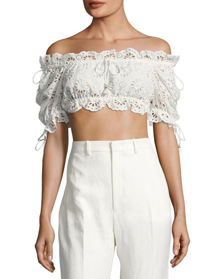 Lumino Eyelet Lace Bandeau Crop Top