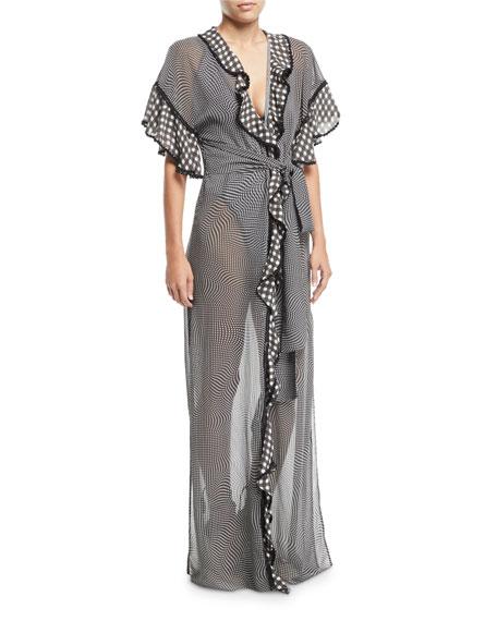 Mixed-Gingham Ruffle Coverup Robe