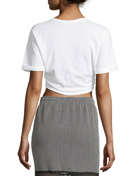 Front-Tie Crewneck Short-Sleeve Crop T-Shirt