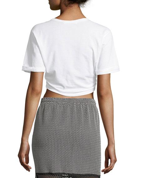Front-Tie Crewneck Short-Sleeve Crop T-Shirt
