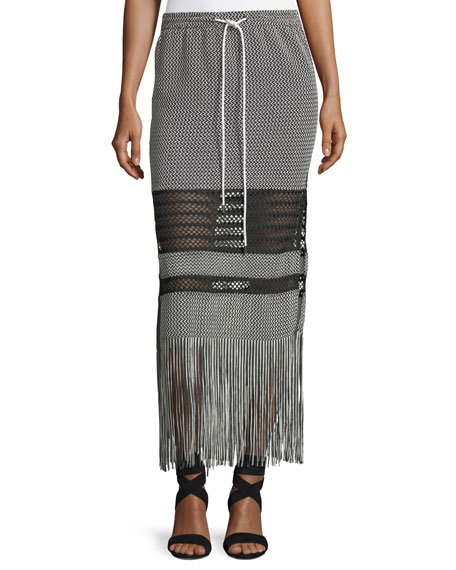 Drawstring Fringe Knit Maxi Coverup Skirt