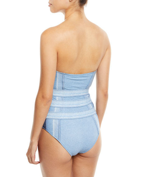 Strapless Tab-Front Denim One-Piece Swimsuit