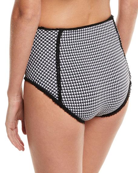 Mixed-Gingham High-Waist Bikini Swim Bottoms