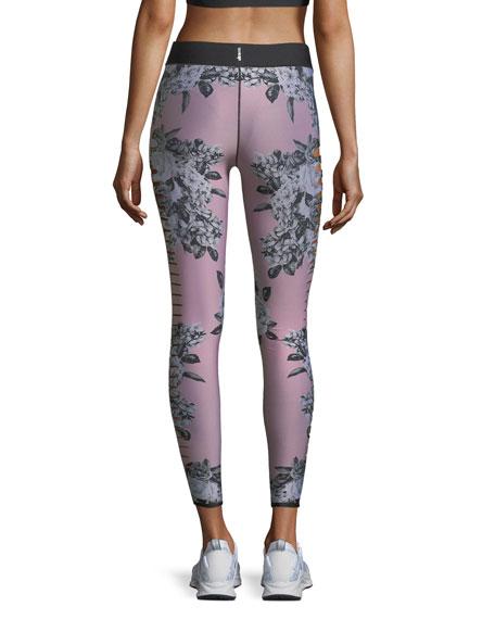 Ultra-Silk Slash Posey Floral-Print Leggings