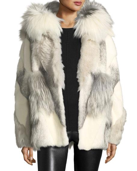 Hooded Mixed Fur Coat