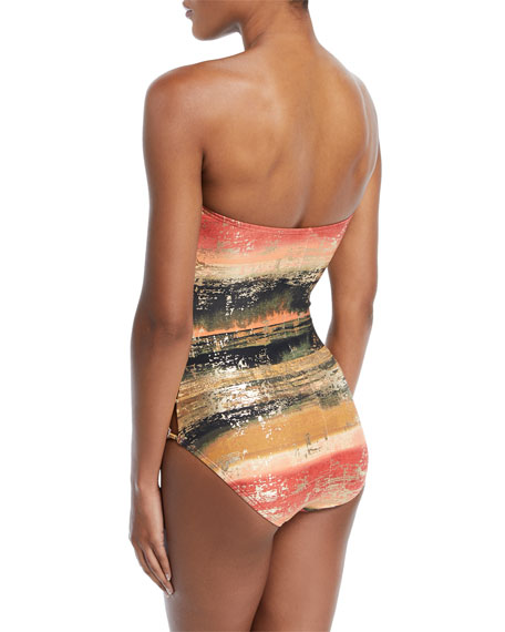 Pacific Sunset Bandeau One-Piece Swimsuit with Metallic