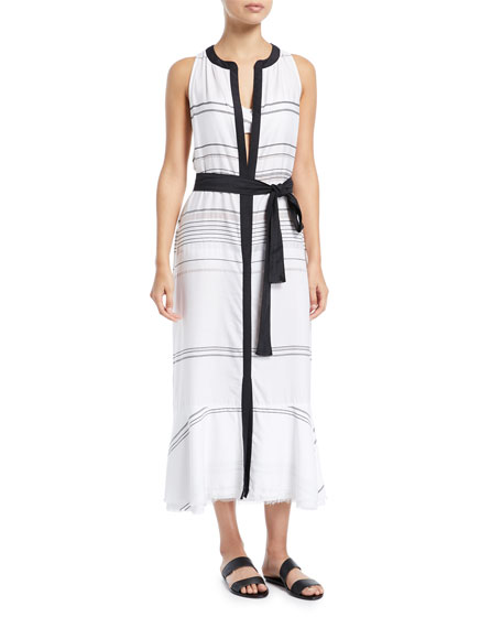 Sleeveless Long Striped Cotton-Voile Coverup Dress