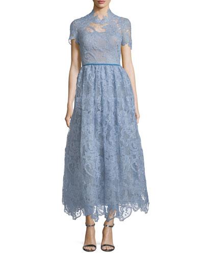 High-Neck Lace Tea-Length Dress