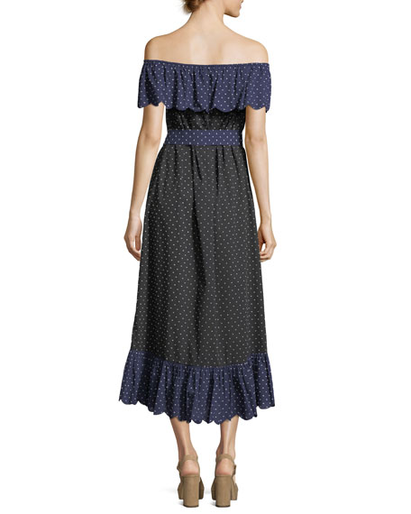 Off-the-Shoulder Polka-Dot Coverup Dress